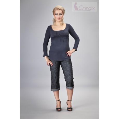 Elegantní těhotenské 3/4 kalhoty DENIM - černý melír