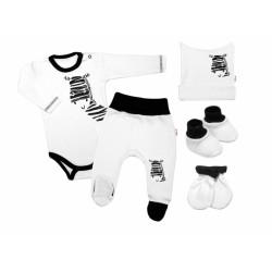 Baby Nellys 5-ti dílná soupravička do porodnice Zebra - bílá