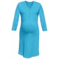 Těhotenská, kojící noční košile PAVLA 3/4 - tyrkys