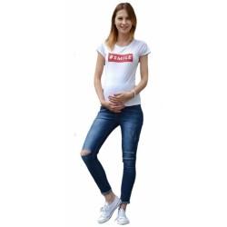 Těhotenské kalhoty JEANS s pružným pásem Livia -  Modré, trhaný vzor