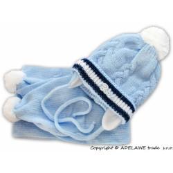 Zimní čepička s šálou - Baby - sv. modrá - bílá bambule
