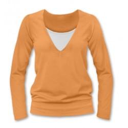 Kojící, těhotenské triko JULIE dl. rukáv - sv. oranžová