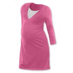 Těhotenská, kojící noční košile JOHANKA dl. rukáv - růžová