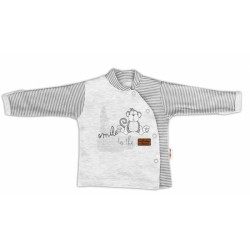 Baby Nellys Bavlněná košilka Monkey zapínání bokem - sv. šedý melírek