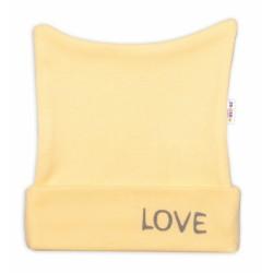 Novorozenecká čepička Baby Nellys, Love - žlutá