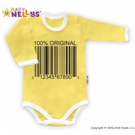 Body dlouhý rukáv 100% ORIGINÁL - žluté/bílý lem