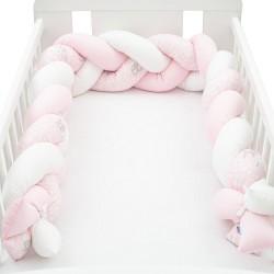 Ochranný mantinel do postýlky cop New Baby Králíčci růžový, Růžová