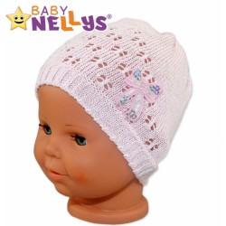 Háčkovaná čepička Mašle Baby Nellys ® - s flitry - sv. růžová