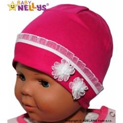 Bavlněná čepička Kytičkami s krajkou Baby Nellys ® - sytě růžová