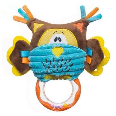 Edukační hračka s chrastítkem a kousátkem - Sova