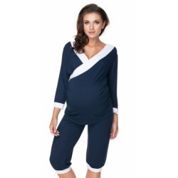 Be MaaMaa Těhotenské, kojící pyžamo 3/4 - granát/bílé lemování