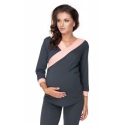 Be MaaMaa Těhotenské, kojící pyžamo 3/4 - grafit/ růžové lemování