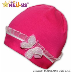 Bavlněná čepička s Motýlkem a  s krajkou Baby Nellys ® - sytě růžová