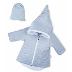 Luxusní prošívaná bundička, kabátek s čepičkou Nicol Velvet Skřítek - šedá