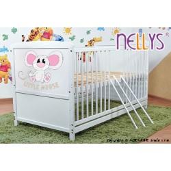 Dřevěná postýlka 2 v 1 Nellys LITTLE MOUSE - bílá/bílá