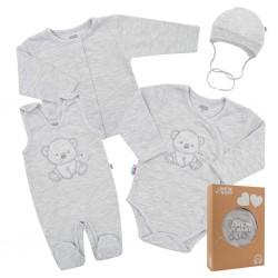 Kojenecká soupravička do porodnice New Baby Sweet Bear šedá, Šedá, 50
