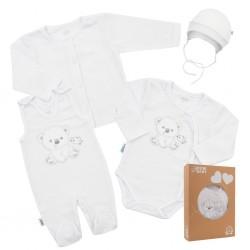Kojenecká soupravička do porodnice New Baby Sweet Bear bílá, Bílá, 56 (0-3m)