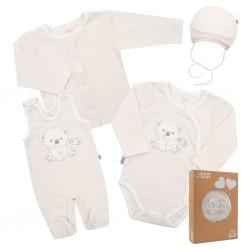 Kojenecká soupravička do porodnice New Baby Sweet Bear béžová, Béžová, 56 (0-3m)