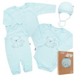 Kojenecká soupravička do porodnice New Baby Sweet Bear modrá, Modrá, 56 (0-3m)