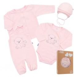 Kojenecká soupravička do porodnice New Baby Sweet Bear růžová, Růžová, 56 (0-3m)