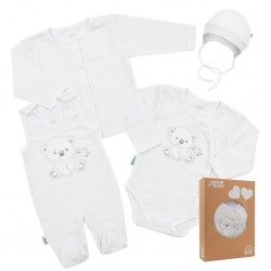 Kojenecká soupravička do porodnice New Baby Sweet Bear bílá, Bílá, 62 (3-6m)