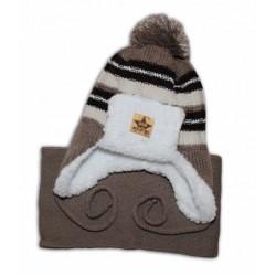 BABY NELLYS Zimní čepička s kožíškem a šálou - béžová