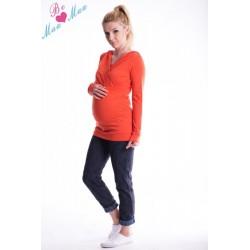 Těhotenská mikina s kapucí OLINA - pomeranč