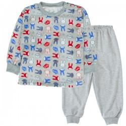 Bavlněné pyžamko Králičci - šedé