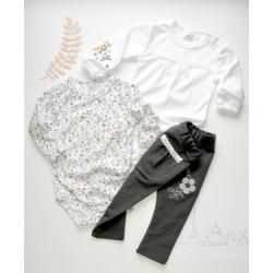 K-Baby Sada 2 x body dl. rukáv + 1 x tepláčky, Louka, bílá/květinky/šedá