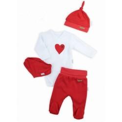 NICOL Sváteční komplet oblečení LOVE  - 4 dílný, červený