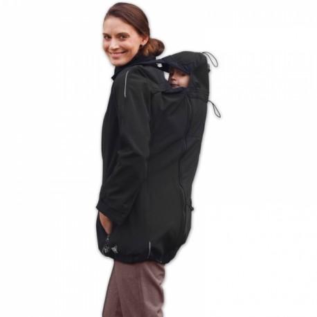Bunda pro nosící, těhotné - softshellová - pro nošení dítěte v předu i vzadu - černá