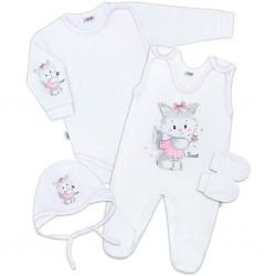 Soupravička 4-dílná Kočička bílo-růžová, Bílá, 62 (3-6m)