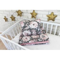 Baby Nellys 2-dílná sada do postýlky Velvet růžový, divoké růže