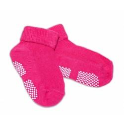 Kojenecké ponožky Risocks protiskluzové - tm. růžové