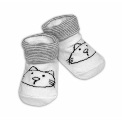 Kojenecké ponožky, 0 - 12 m, Risocks - Kočička, bílo/šedé