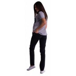 Těhotenské kalhoty s mini těhotenským pásem - černé