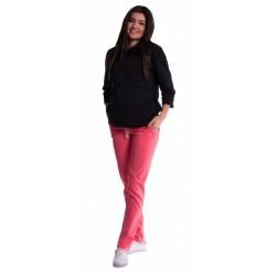 Těhotenské kalhoty s mini těhotenským pásem - růžové