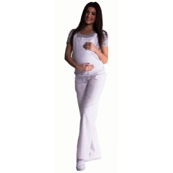 Těhotenské kalhoty s láclem - bílé