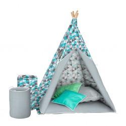 Dětský luxusní stan s výbavou Teepee Akuku tyrkysovo-šedý, Modrá