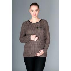 Těhotenský svetřík Molly s ozdobným lemem - mocca