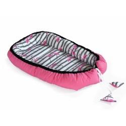 Oboustranné hnízdečko, kokon 60x90cm - Plameňák/Proužky, růžová/černá