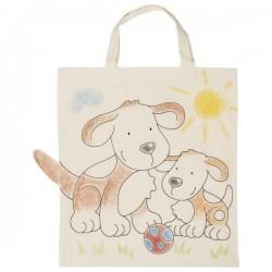 Dětská Eko bavlněná taška k vybarvení, 38x42cm - Pejsek