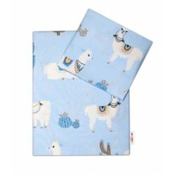 2-dílné bavlněné povlečení Lama - modré