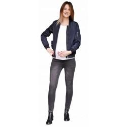 Těhotenské kalhoty JEANS s pružným pásem Angie - Černé
