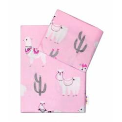 2-dílné bavlněné povlečení Lama - růžové