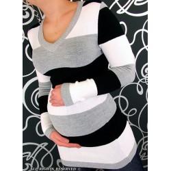 Těhotenská tunika PRUH - černá