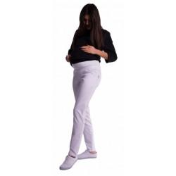 Těhotenské kalhoty s mini těhotenským pásem - bílé