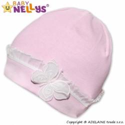 Bavlněná čepička s Motýlkem a  s krajkou Baby Nellys ® - sv. růžová