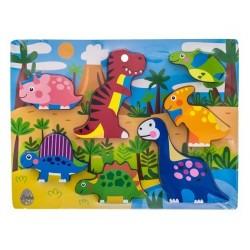 Dřevěné zábavné puzzle vkládací Euro Baby - Dinosauři