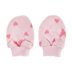 Kojenecké rukavičky Motýlek srdíčko, růžové